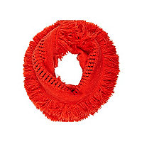 Girls red cosy tassel snood