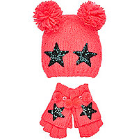 Girls pink star bobble beanie and gloves