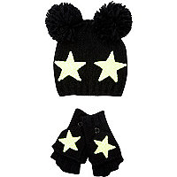 Girls black star bobble beanie and gloves