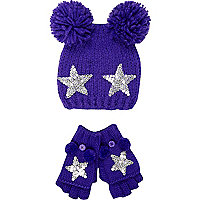 Girls purple star bobble beanie and gloves