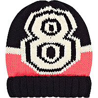 Girls navy varsity 8 beanie