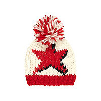 Girls cream star bobble beanie