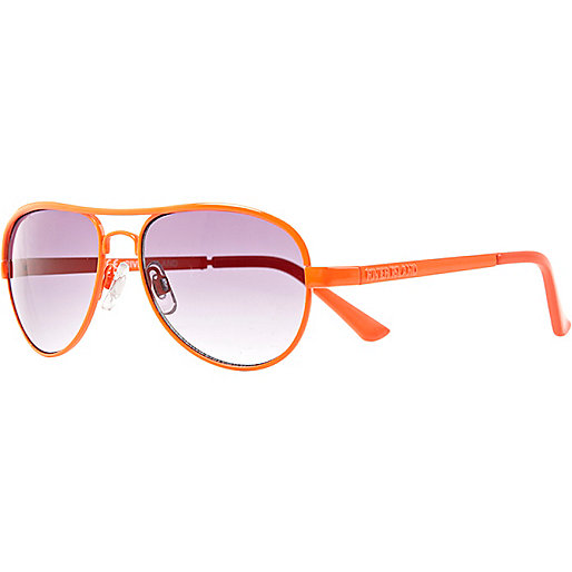 Girls neon orange aviator sunglasses