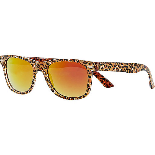 Girls pink leopard print retro sunglasses
