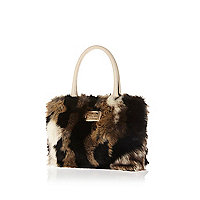 Girls black mixed faux fur tote bag