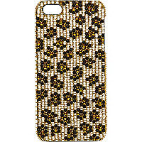 Girls brown leopard studded iPhone 5 case