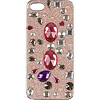 Girls pink gem embellished iPhone 5 case