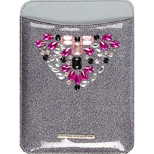 Girls grey gem embellished mini tablet case