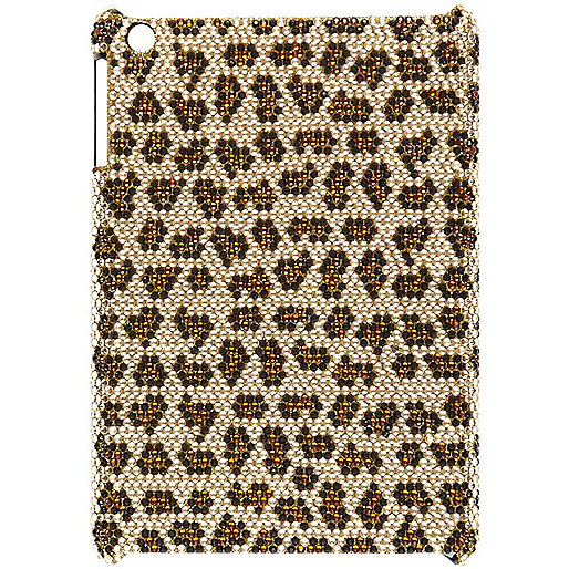 Girls brown stud leopard tablet back cover