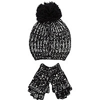 Girls black & silver pearl hat and gloves set