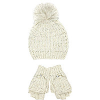 Girls cream pearl hat and gloves set