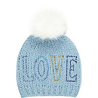 Girls light blue Love bobble hat