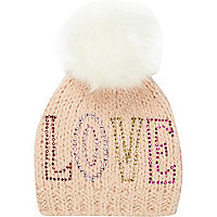 Girls pink Love bobble hat