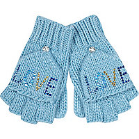 Girls blue love studded mitten gloves