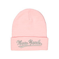 Girls pink New York beanie hat