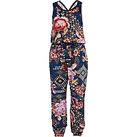 Girls blue tapestry print jumpsuit