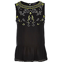 Girls black neon beaded peplum top