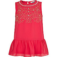 Girls pink beaded peplum top