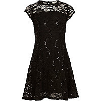 Girls black lace sequin dress