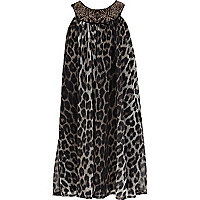 Girls brown leopard print babydoll dress