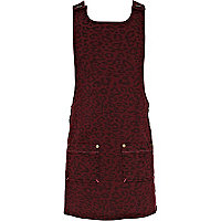 Girls red animal print pinafore dress