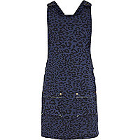 Girls blue animal print pinafore dress