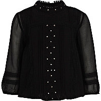 Girls black beaded victoriana blouse