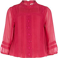 Girls pink beaded victoriana blouse