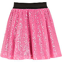 Girls pink sequin tutu skirt