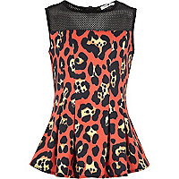 Girls orange leopard print peplum top