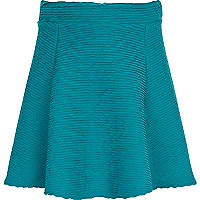 Girls teal textured skater skirt