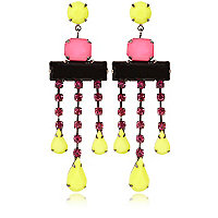 Girls pink statement drop earrings