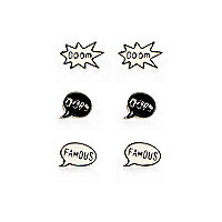 Girls cream 3 pack slogan earrings