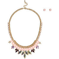 Girls pink diamante necklace and earrings set