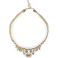 Girls white corded statement necklace
