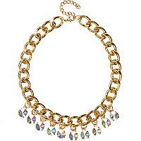 Girls purple gem chunky statement necklace