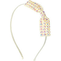 Girls white studded bow alice band