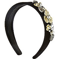Girls black velvet baroque alice band