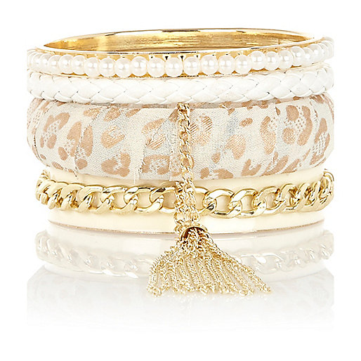 Girls gold tone leopard bangle pack