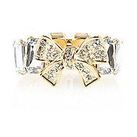 Girls silver tone stretch bow bracelet