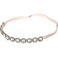 Girls pink gem embellished stretch head band
