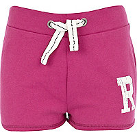 Girls pink R initial shorts