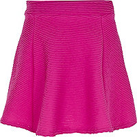 Girls pink ripple textured skater skirt