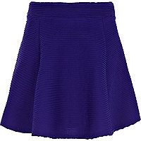 Girls dark blue textured skater skirt