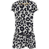 Girls grey leopard print drop waist dress