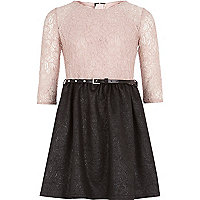 Girls pink lace 2 in 1 dress