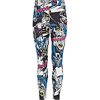 Girls black Batman swoosh leggings
