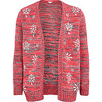 Girls pink diamante snowflake cardigan