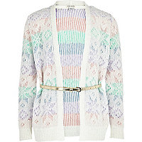 Girls cream fairisle knit belted cardigan