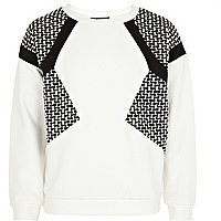Girls white panelled scuba sweatshirt